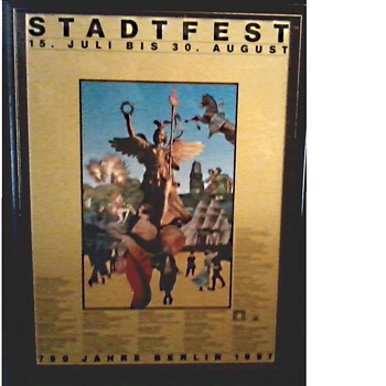"Interesting German Festival Poster / Matted and Framed  19"" x 25""/ Circa 1987 - Posters and Prints"