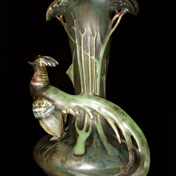 Pheasant Vase by Amphora - Art Pottery