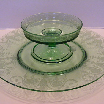 Fostoria Cheese and Cracker Set, Vernon etch pattern - Glassware