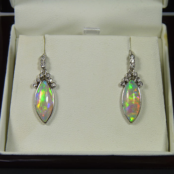 Pair of Crystal Opal and Diamond Earrings in White Gold