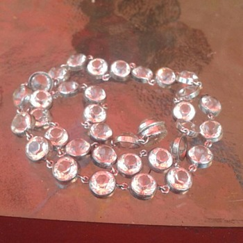 Crystal Paste Diamonds? Necklace not sure, Marked Sterling - Accessories