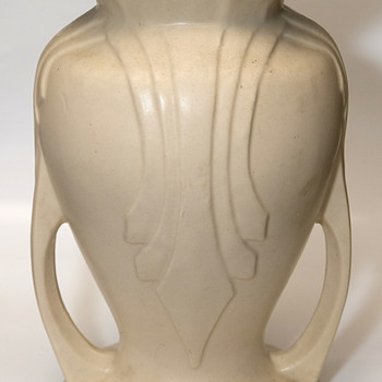 "Stoneware vase 9"" tall 7"" wide very heavy - Art Pottery"