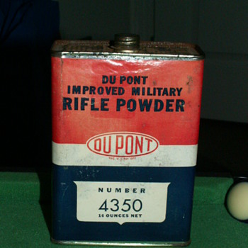 Antique/Vintage Dupont Improved Military Rifle Powder 4350 Cannister - Sporting Goods