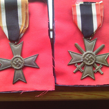 War Merit Cross 2nd class with and without Swords. German WWII medals. 
