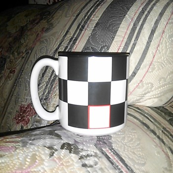 mug checkered flag or checkerboard
