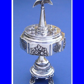 Antique FOLK ART Sterling Silver OIL MENORAH  - Sterling Silver