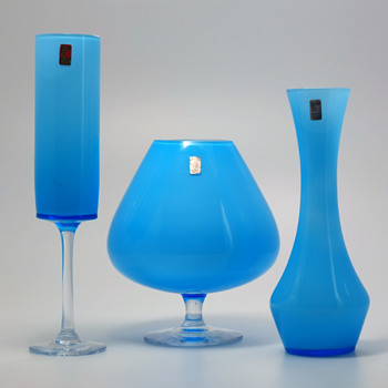 Ryds Glasbruk, Sweden - Three light blue vases.
