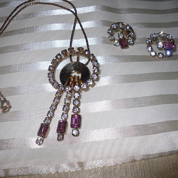 Necklace (Pendant) and Earings by Monet Approx. 1949 - Costume Jewelry