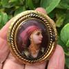 Mourning Painted Porcelian Gypsy Girl Swivel Brooch