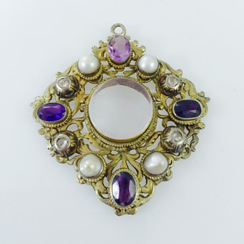 Austro-Hungarian Rose Cut Diamond Amethyst Pearl Ornate Mourning Pendant 800 Silver  - Victorian Era