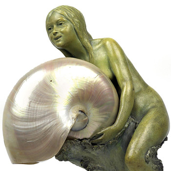 Johann Pilar (Vienna) Sea Maiden w/ Nautilus Shell Shade Lamp