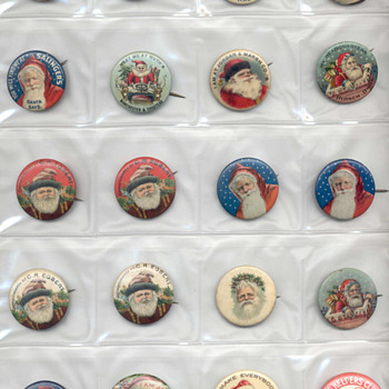 Vintage Santa Pinbacks - Advertising