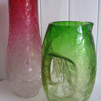 Kralik Crackle Cranberry Vase - Art Glass