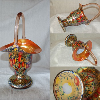 Kralik Millefiori Basket 10 1/2&quot; tall - Art Glass