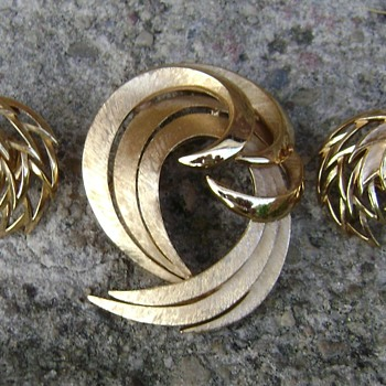 Crown Trifari Brooch and Earrings