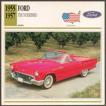 Vintage Car Card - Ford Thunderbird - Cards