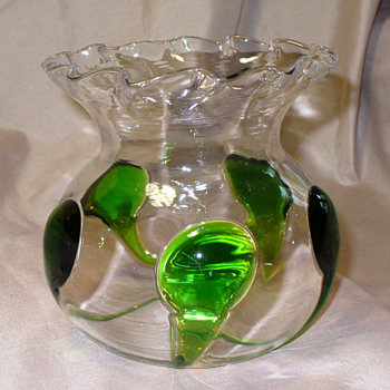 Harrach Peacock variant Rose Bowl - Art Glass