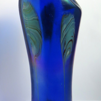 Rindskopf Cobalt Blue Pulled Feather Vase