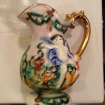 Ceramic? Porcelain? Pitcher and bowl with lid - Art Pottery
