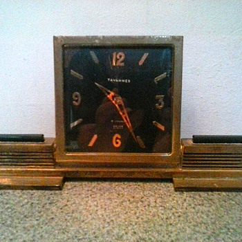 """Tavanness"" Beyer Zurich Brass And Onyx ""Art Deco"" Wind-Up Desk Clock / Circa 1930's"