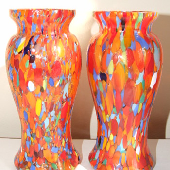 Pair of Ruckl / Welz Spatter Vases