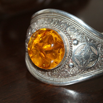 Amber and Sterling Bangle