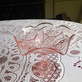 Imperial Glass Star and File Pink Candy Dish - Glassware