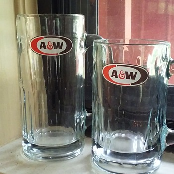 two A&W ROOT BEER mugs