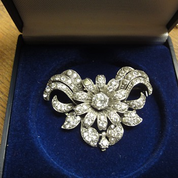 Sterling Silver Flower Bow Paste Brooch