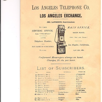 Los Angeles Telephone Directory 1882/1909 - Telephones