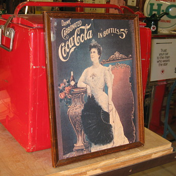 1905 Frame  Lillian Nordica Coca- Cola cardbord Adv very old - Coca-Cola