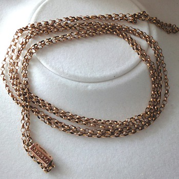 ANTIQUE VICTORIAN 14ct ROSE GOLD MUFF/GUARD CHAIN