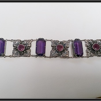 Elsie Reeves Arts and Crafts Bracelet and matching pendant - amethyst glass and enamel