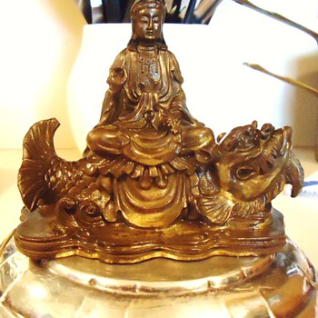 Kwan Yin sitting on a Dragon Fish  5 inches tall, 1.6 Lb. Statue