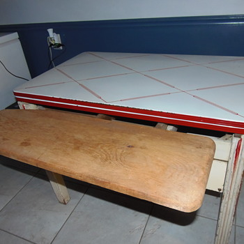 Enamel Table with Hidden Ironing Board