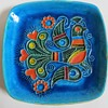 Vintage Mid Century? Pottery Dish/bowl w/Raised Bird Design~Vivid Color, unknown Signature
