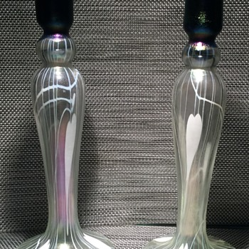 Imperial Free Hand Candlesticks with partial label