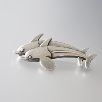 Georg Jensen sterling silver twin dolphin brooch #317