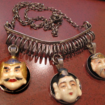 Hand signed Asian face sterling necklace - Sterling Silver