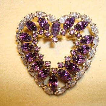 Amethyst and Austrian Crystal Heart in Sterling by Jay Flex ca 1930 - Fine Jewelry