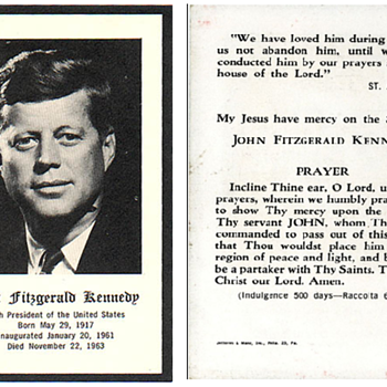 John F. Kennedy Prayer Card - Cards