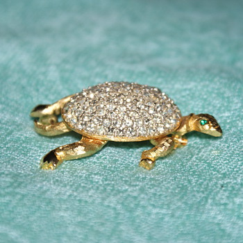 Rhinestone Turtle Costume Pin