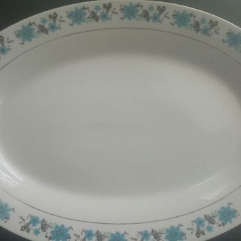 Blue floral China serving plate