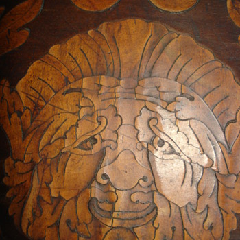 Antique Dutch marquetry table. Details from the inlaids