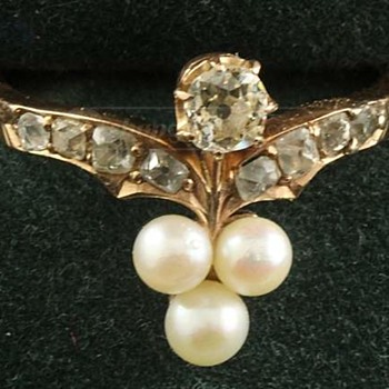 Rose Gold, Belle Epoque Diamond Pearl Ring - Fine Jewelry