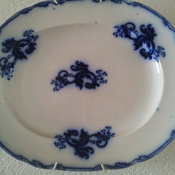 Very large blue flow serving platter