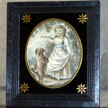 Georgian Silk Embroidered Painting Of Girl And Dog - Visual Art