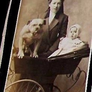 MAMA, BABY, DOG--ALL OUT FOR A STROLL, 1900-Style, Sepia.