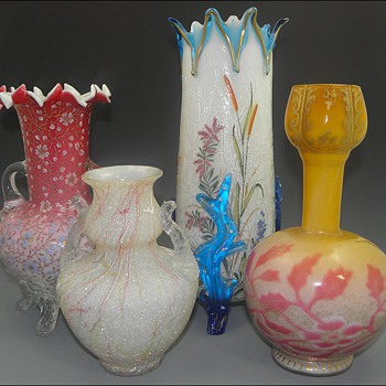 Group of Four Art Nouveau Victorian Vases - All Harrach I Believe - Art Glass