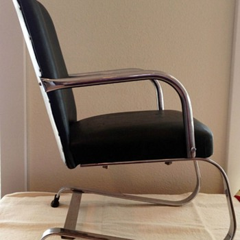 "1930s-1940s  22"" high 12"" wide tubular steel and chrome machine age springer chair made by Lloyd Loom Products, Menomimee, MI,"
